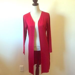 Long Red Duster Cardigan